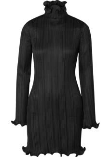 Givenchy Ruffle-trimmed Plissé-satin Mini Dress