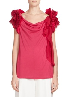 Givenchy Silk-Blend Ruffle-Sleeve Top
