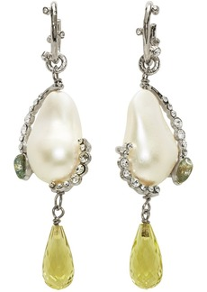 Givenchy Silver & Green Charm Pearl Earrings