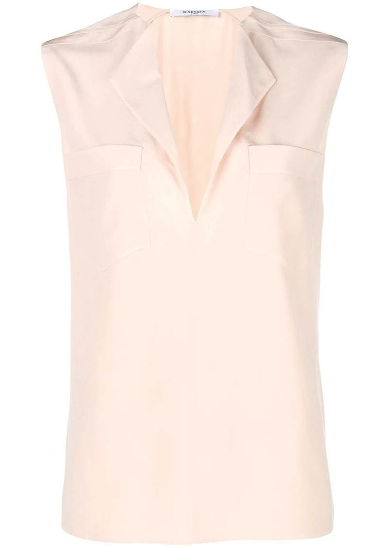 Givenchy sleeveless split neck blouse
