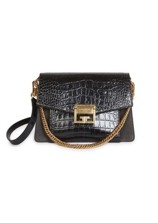 Givenchy Small GV3 Croc-Embossed Leather Shoulder Bag