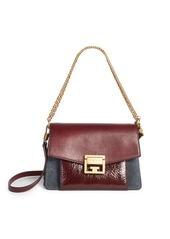 Givenchy Small GV3 Crackle & Suede Aubergine Shoulder Bag