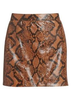 Givenchy Snakeskin-Print Leather Mini Skirt