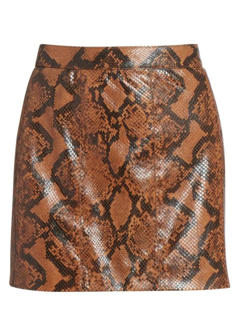 Givenchy Snakeskin-Print Leather Mini Skirt