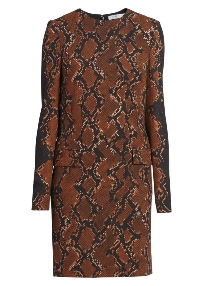 Givenchy Snakeskin-Print Wool-Blend Shift Dress