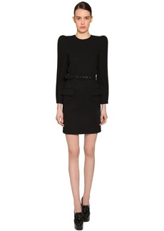 Givenchy Soft Crepe Wool W/round Shoulder Dress