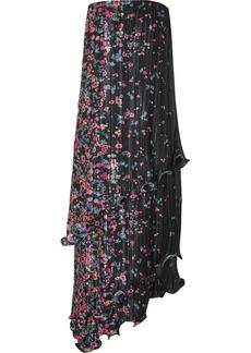 Givenchy Strapless Asymmetric Ruffled Floral-print Plissé-satin Dress