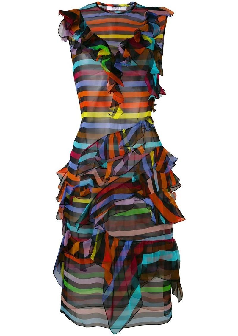 Givenchy striped ruffle shift dress