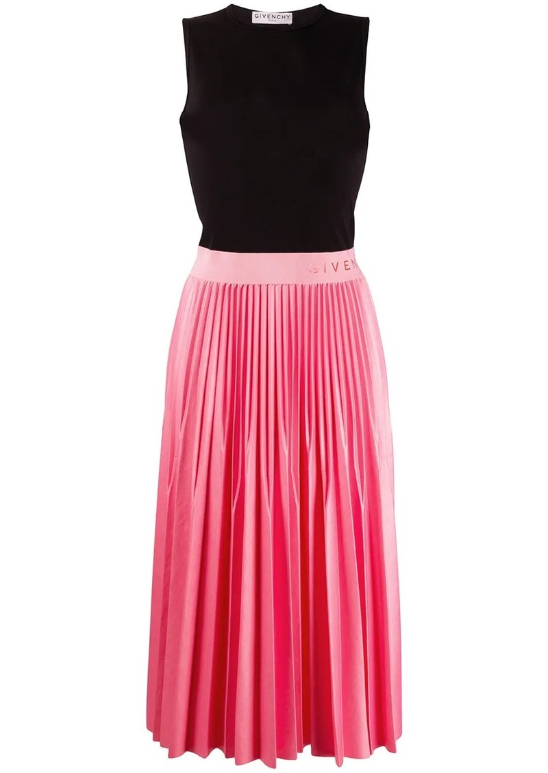 Givenchy two tone pleated midi dress