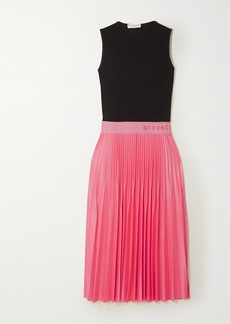 Givenchy Two-tone Pleated Satin And Crepe Midi Dress