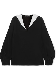 Givenchy Two-tone Silk-crepe Blouse