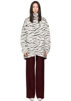 Givenchy White & Black Mohair Tiger Stripes Turtleneck