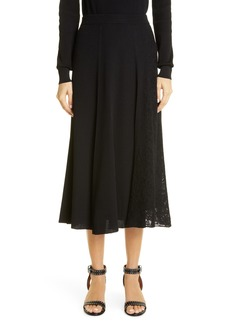 Women's Givenchy Lace Panel Ribbed Midi Sweater Skirt