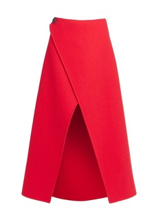 Givenchy Wrapped Wool Midi Skirt