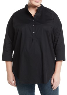 Go Silk 3/4-Sleeve Half-Button Oversized Stretch-Cotton Shirt  Plus Size