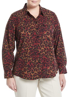 Go Silk Animal Print Georgette Button-Front Blouse