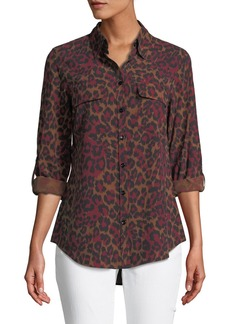 Animal-Print Silk Button-Down Blouse