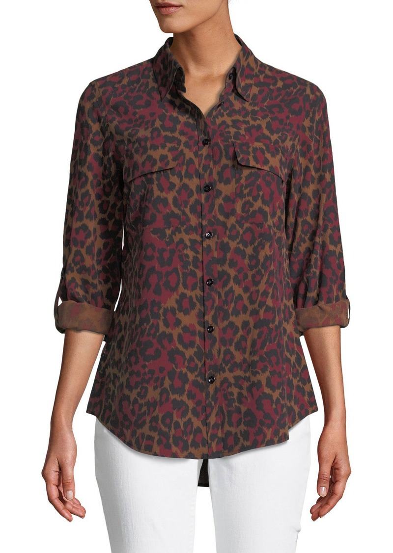 Go Silk Animal-Print Silk Button-Down Blouse