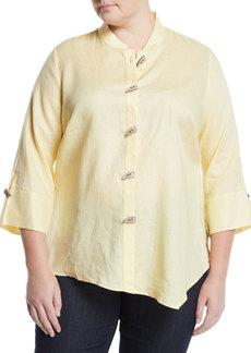Go Silk Asymmetric Linen Button-Front Blouse  Plus Size