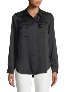 Button-Front Woven-Silk Blouse