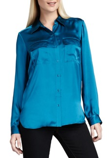 Go Silk Charmeuse Button-Front Blouse