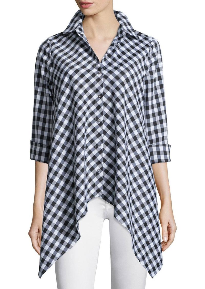 Go Silk Drama Gingham Handkerchief Shirt