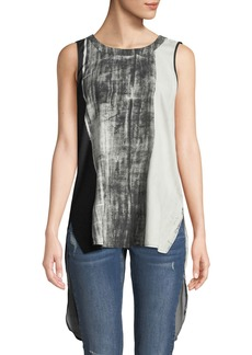 Go Silk Go Chase Your Tail Sleeveless Printed Blouse