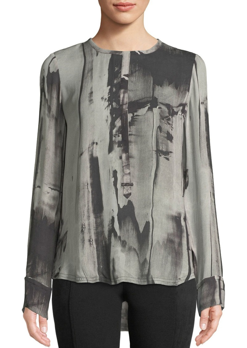 c89092d6e2b9e6 Go Silk Go Clean and Simple Tie-Dye Silk Blouse | Casual Shirts