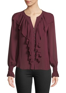 Go Silk Go Get Ruffled Up Silk Button-Front Blouse