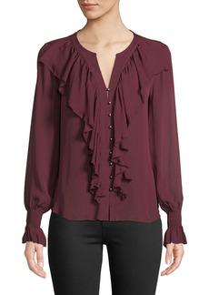 Go Silk Go Get Ruffled Up Silk Button-Front Blouse