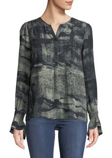 Go Silk Go Ruffles Flare-Sleeve Printed Blouse
