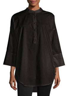 Go Silk 3/4-Sleeve Half-Button Oversized Stretch-Cotton Shirt