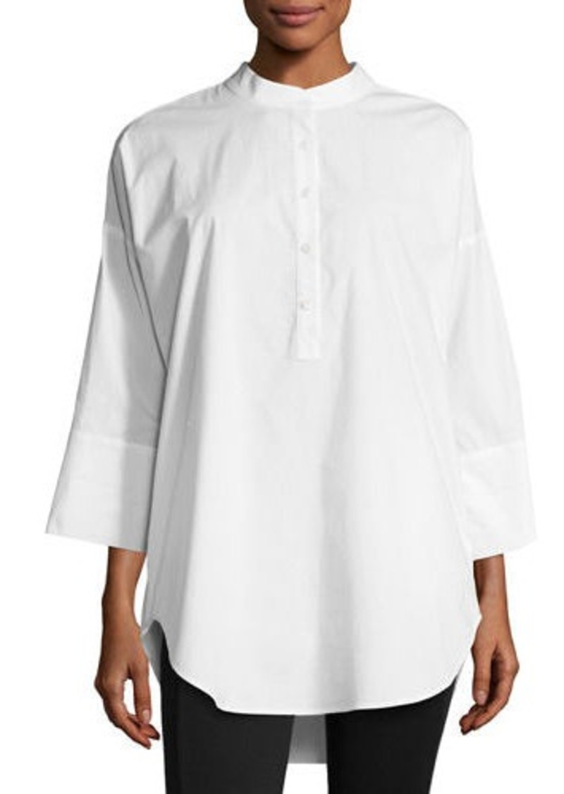 Go Silk 3/4-Sleeve Half-Button Oversized Stretch-Cotton Shirt
