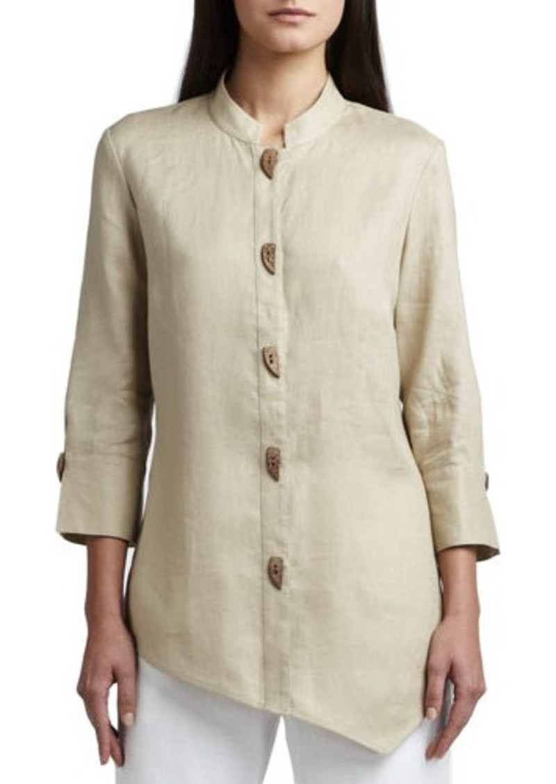 Go Silk Asymmetric Linen Blouse, Petite