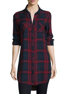 Go Silk Button-Front Plaid Boyfriend Long Shirt
