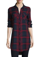 Go Silk Button-Front Plaid Boyfriend Long Shirt