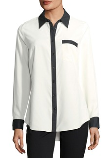 Go Silk Contrast-Placket Silk Shirt