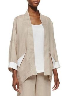 Go Silk Dropped-Shoulder Linen Jacket, Sesame