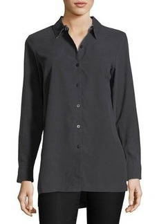 Go Silk Easy Button-Front Silk Shirt