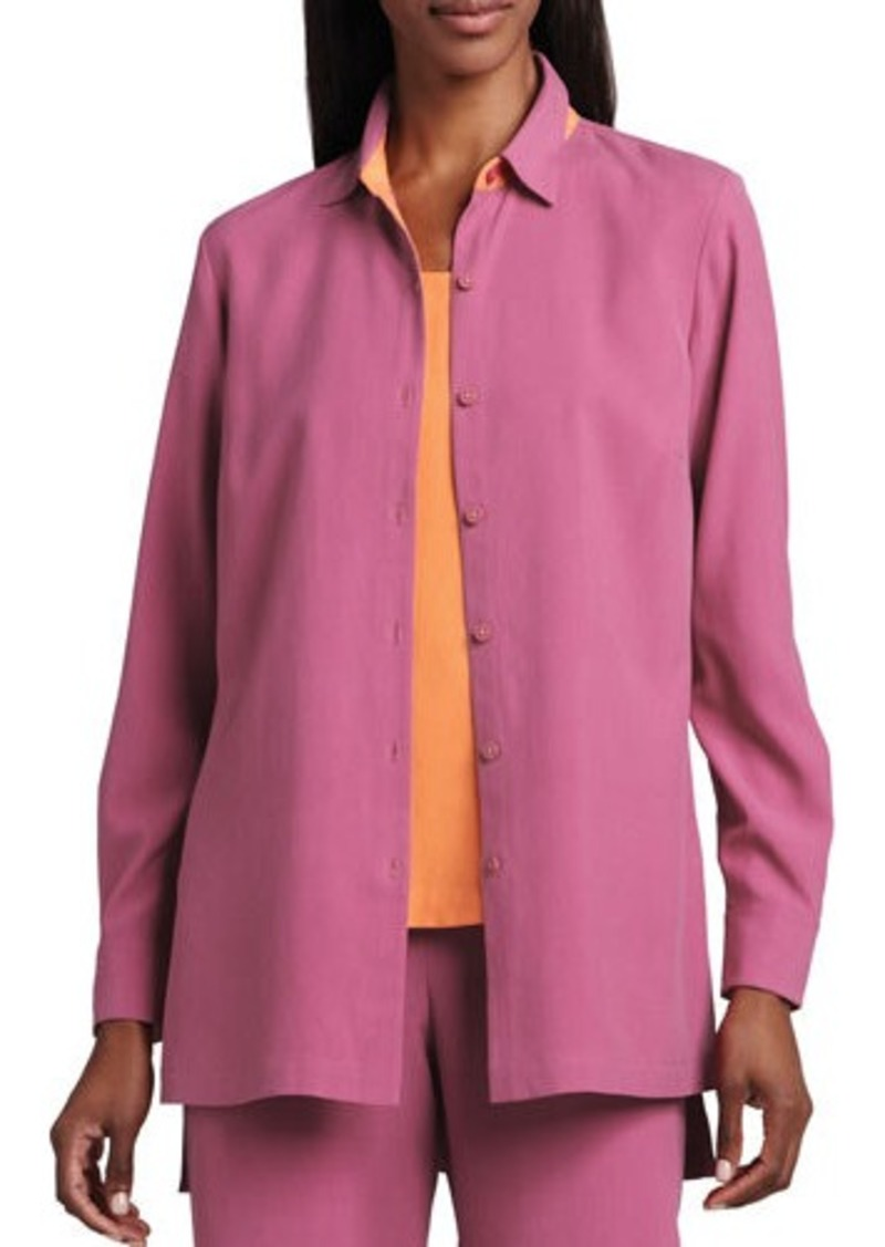 Go Silk Easy-Fit Colorblock Silk Shirt  Easy-Fit Colorblock Silk Shirt