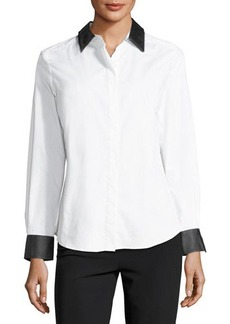 Go Silk Faux Leather-Trim Poplin Shirt