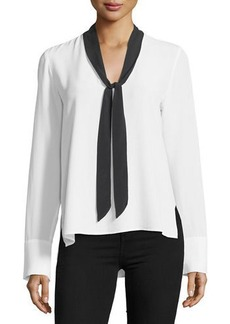 Go Silk Go Bow Out Silk-Blend Blouse