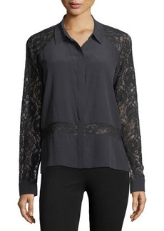 Go Silk Go Lacey On Me Silk Blouse