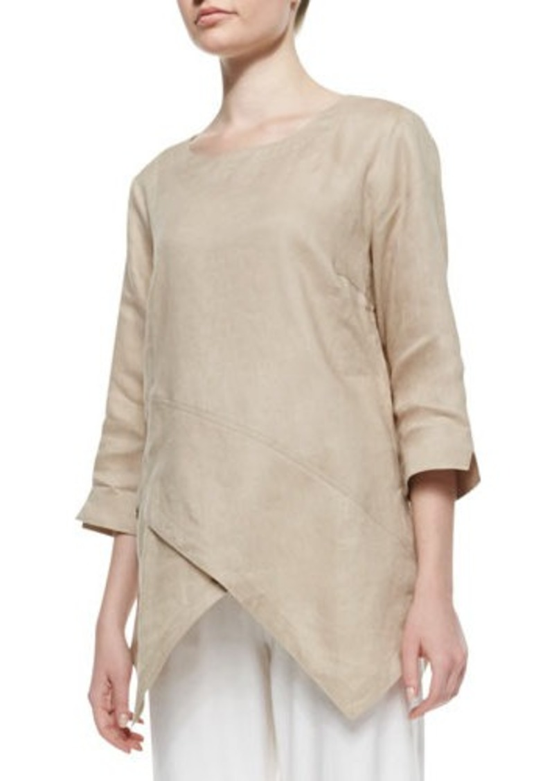 Go Silk Linen Asymmetric Long Tunic, Petite