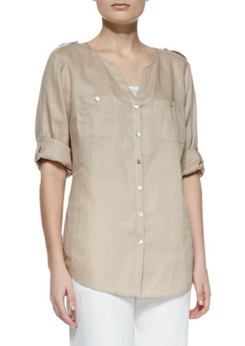 Go Silk Linen Button-Front Tunic, Petite