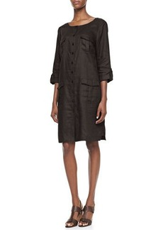 Go Silk Linen Pocket-Front Shirtdress