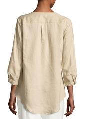 Go Silk Linen Tab-Sleeve Shirt