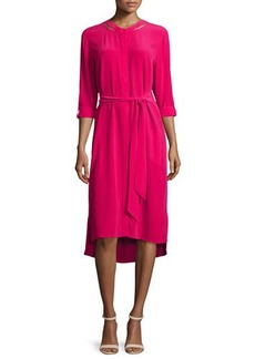 Go Silk Long-Sleeve Belted Silk Shirtdress