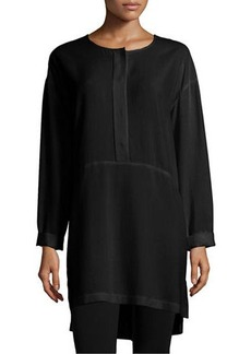 Go Silk Long-Sleeve High-Low Silk Tunic