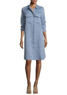 Go Silk Long-Sleeve Linen Shirtdress
